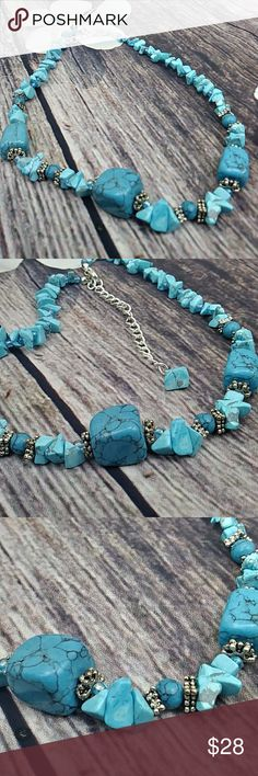 "Felicia Turquoise Necklace With Sterling Silver This beauty is ""14"" in length on a sterling silver chain. Its a low accent piece which compliments your outfit and style..just fab..handmade with semiprecious stones...necklace only , doesn't come with mat hibg earrings. Jewelry Necklaces"