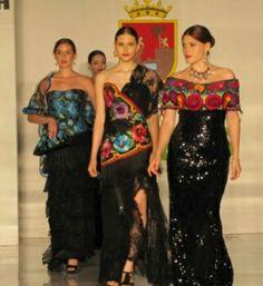 Bordados mexicanos negro Long dresses Más