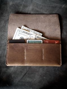 """Bas and Lokes Handmade Leather Goods - """"Nathan"""" Brown Handmade Leather Wallet, $98.00 (http://www.basandlokes.com/nathan-brown-handmade-leather-wallet/)"""