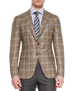 Plaid+Two-Button+Jacket,+Light+Brown/Creme+by+Isaia+at+Neiman+Marcus.