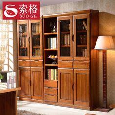 实木胡桃木书柜玻璃书橱书架储物组合书房中式宜家住宅婚房家具