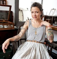 Anna Sheffield - jewelry designer gray hair curly hair/ lover her style (minus tats) Silver Haired Beauties, Anna Sheffield, Under My Skin, Going Gray, Playing Dress Up, Her Style, Bangs, Midi Skirt, How To Wear