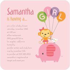 Monkey Baby Shower Invitations for Girl