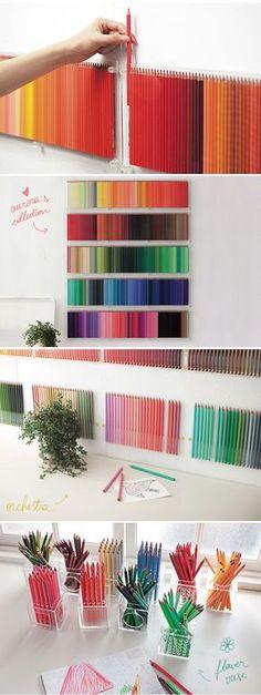 como organizar lápis de cor via: achadosdabia.com.br/wordpress/wp-content/uploads/2011/11/achados-da-bia-500-colors2.jpg