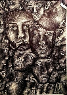I've completed this a long time ago, using an ink pen, weird way of representing claustrophobia..