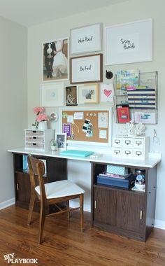 Adding a piece customized piece of wood over two thrifted cabinets creates a budget friendly DIY Desk.