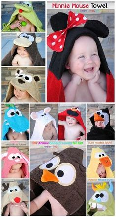 Cutest Kid Hoodies(◕‿◕✿)~Tutorials - DIY Animal Hooded Towels by Amber - crazy little projects