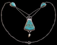 Jugendstil Necklace  Silver Turquoise Pearl H: 6.9 cm (2.72 in) W: 3.1 cm (1.22 in) L: 51 cm (20.08 in) Marks: '950' & 'MBC' monogram Ang...