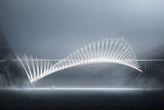 Flying fish 1000 meter long Bridge by Sako Tchilingirian - Armenia [ ] [OC] - via Classy Bro Bridges Architecture, Architecture Design, Bridge Structure, University Architecture, Architectural Engineering, Bridge Design, Parametric Design, Pedestrian Bridge, Futuristic Art