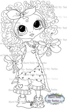 INSTANT DOWNLOAD Digi Stamps Big Eye Big Head Dolls Digi