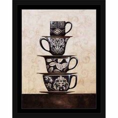 Stacked Patterned Kitchen Cups Black & White, Framed Canvas Art by Pied Piper Creative