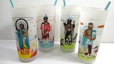 4 Blue Eagle Famous Oklahoma Indian Glasses by UrbanRenewalDesigns, $48.00