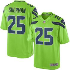 Womens Nike NFL Chicago Nike Seahawks 25 Richard Sherman Steel Blue Team  Color Mens Stitched NFL Game Jersey 25! 882589478