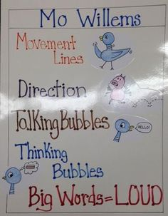 Mo Willems Author Study. Read a Mo Willems book to the class and then discuss certain ways he uses to convey his stories. Introduce kids to aspects of a book, such as, big words mean the character is saying it loud.