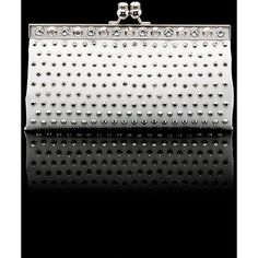 Prada Patent Saffiano Leather Clutch With Metal Trim ($3,100) ❤ liked on Polyvore
