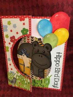 Hippo Bird Day Front Sizzix Circle Flip-it's #4 Card Die Hippo2stamp Sizzix Triplets Gifts Dies Grass Die Balloons2cut Set Spinners2stamp TSOL paper Happy Collection