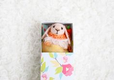 Fluffy Cream Bunny In A Floral Matchbox by UnderUmbrelland on Etsy, $23.00