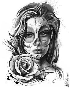 amazing and creative drawing ideas tattoo drawings chicano tattoos, tat Chicano Tattoos, Body Art Tattoos, Sleeve Tattoos, Tattoo Girls, Girl Tattoos, Tattoo Studio, Skull Tattoo Design, Tattoo Designs Men, Skull Design