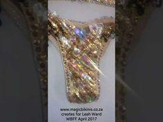 Gold & Black Crystalled WBFF Competition Bikini by @magicbikinis, Bikini Diva, Fitness Bikini, Bikini Model WBFF PRO Leah Ward Wbff Bikini, Competition Bikinis, Make It Yourself, Yellow, Create, Videos