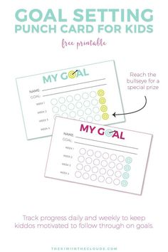Goal Setting For Kids + Free Printable Teaching kids how to set and KEEP goal is hard. Why not make it more fun with this free printable goal punch sheet? Behavior Punch Cards, Babysitting Activities, Money Activities, Primary Activities, Family Activities, Physical Activities, Goal Charts, Chore Charts, Goals Sheet