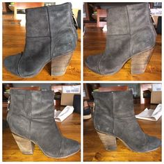 """Rag & Bone Classic Newbury Booties Dark gray rugged suede.  Hardly worn.  Some scratches on suede and on stacked wooden 3.5"""" heel.  These boots in this material are meant to look somewhat distressed.  I wore these only a few times.  Some may even call these a distressed black. I'm not sure what R&B called them.  ❤️.  NO TRADES NO PYPL WILL NOT DISCUSS PRICE IN COMMENTS rag & bone Shoes Ankle Boots & Booties"""