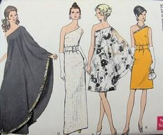 Evening Dress Pattern Vogue 7528 Misses One Shoulder Formal or Knee Length with Drape RARE Womens Vintage Sewing Pattern Bust 36 on Etsy, Sold by sharlene Vogue Dress Patterns, Vintage Dress Patterns, Clothing Patterns, Vintage Dresses, Vintage Outfits, 1960s Dresses, Pattern Dress, Moda Retro, Moda Vintage