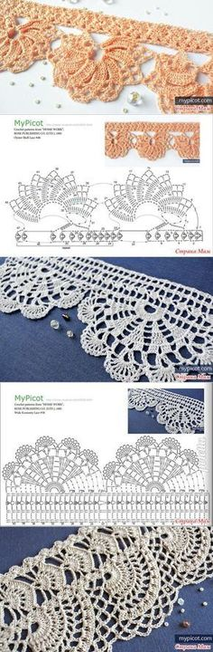 Beautiful crochet borders/trims: diagrams