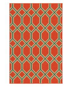 Look at this #zulilyfind! Orange & Teal Lattice Rug #zulilyfinds