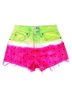 Vintage Watermelon Levis Denim Ripped Tie Dye Shorts for Cute Girls