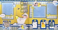 Bath Time 2 Premade Scrapbook Pages Baby Paper Piecing 4 Album Boy Girl Cherry…
