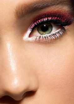 Red and white eyeshadow - #makeup