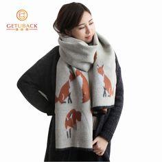 여성 겨울 스카프 2016 가짜 캐시미어 여우 패션 두꺼운 따뜻한 200*65 센치메터 여성 스카프 KK103