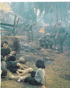 Village searched, villagers terrorized, huts set on fire - Vietnam War