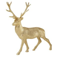 Christmas Gold Glitter Stag Decoration