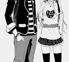 i love you, anime, black and white, couple - image #581297 on Favim.