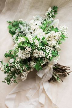 Green & White Wedding Bouquet Featuring White Lilac
