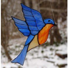how to make stained glass twirly bird | blue bird stained glass pattern