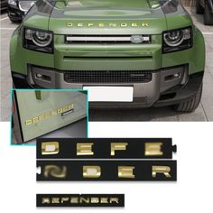 NEW PRODUCT DEFENDER GOLD/ CARBON / SILVER BADGES 2020: Vendor: Victorious Automotive Type: car Price: 56.99 - 96.99 (21 variants) Model Name: letters emblem for 2020 DEFENDER item style: for 2020 DEFENDER letters emblem Material: ABS Feature: 3D design, excellent quality, rustproof and waterproof, never fade Size: original size and font (1:1) letter height: 35mm Colors: matte black, matte silver, glossy black, chrome, black carbon fiber,grey,gold Suitable place: front hood/trunk Unit package… Range Rover Accessories, Car Prices, Carbon Black, Grey And Gold, 3d Design, Carbon Fiber, Matte Black, Victorious, Badge