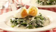 Koche ein Gericht, das außergewöhnlich und lecker ist. Wie zum Beispiel pochierte Eier auf  einem Blattspinatbett von MAGGI.