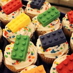 Lego Cupcakes! what a cute idea!