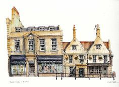 Rossiters, Bath, Pen and Ink by Chris Lee Watercolor Architecture, Watercolor Landscape, Architecture Sketches, Watercolor Sketch, Watercolor Paintings, Watercolors, Chris Lee, City Sketch, Building Sketch