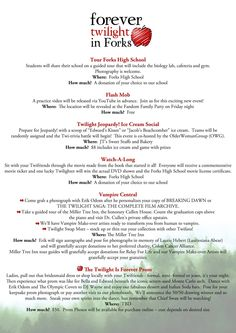 3/4 ~ FOREVER TWILIGHT IN FORKS is proud to present the introductory schedule for our Fall 2015 festival celebrating ten years of Stephenie Meyer's love story, The Twilight Saga. Please join your fandom family, actor Erik Odom and The Olympic Coven from Sept 10th- 13th, here in the town that Stephenie chose as home for her vampire family and her lonely high school girl who we followed into their world. Tickets go on sale Feb 9th when our site goes live at www.forevertwilightinforks.com