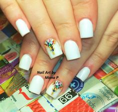 White and colorfull swarovsky stone nail art