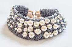 Perlas collar collar collar babero collar por BlueSeagullArt