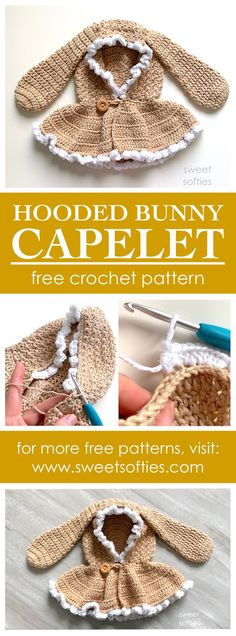Ravelry: Hooded Bunny Capelet pattern by Sweet Softies Knit Or Crochet, Free Crochet, Crochet Baby, Crochet Designs, Crochet Patterns, Knitted Teddy Bear, Easy Knitting Projects, Thick Yarn, Hand Knitted Sweaters