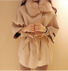 cf22d183c41 Buy from china Hotsale fashion women wool coats fur with cap female woolen  cloak outerwear