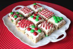 Christmas rice krispy squares