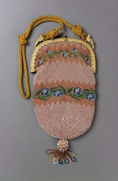 1830-1850, Europe - Bag - Embroidered cotton; beadwork