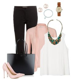 """""""Pink pearl"""" by marijime-paperdoll on Polyvore featuring moda, Etro, Yves Saint Laurent, AX Paris, Majorica y J.Crew"""