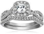 Sterling Silver Platinum Plated Swarovski Zirconia Ring